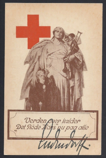Danish Red Cross World War I Postcard Signed by German General Ludendorff